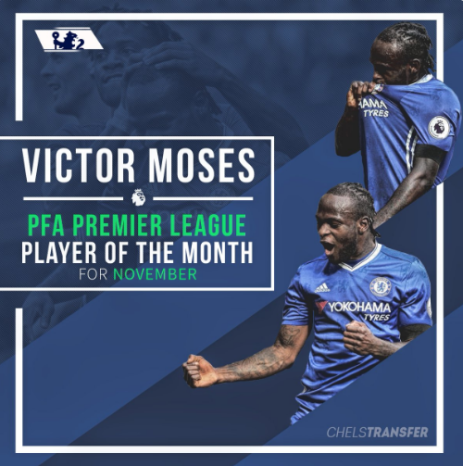 Victor Moses player of the month